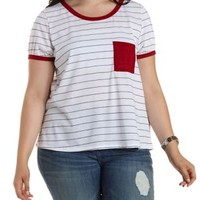 Plus Size White Combo Striped Ringer Pocket Tee by Charlotte Russe
