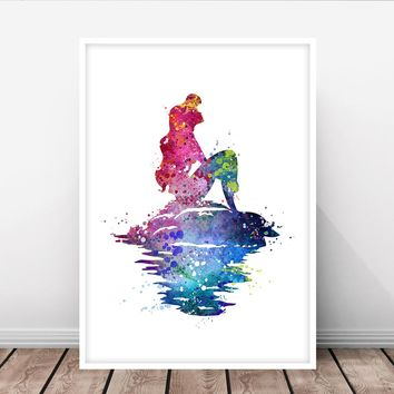 Watercolor Mermaid Painting, Mermaid Print, Mermaid Decor, Mermaid Art, Mermaid Wall Art, Ocean Decor, Sea - 352