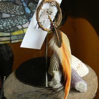 """Tribal Woodland Dream Catcher Ornament 2"""" Woodland Wolf in The Native Inspired Tribal Rustic Style"""