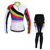 Fashion Breathable Long Sleeve Jersey + Pants Outdoor Cycling Suits For Women