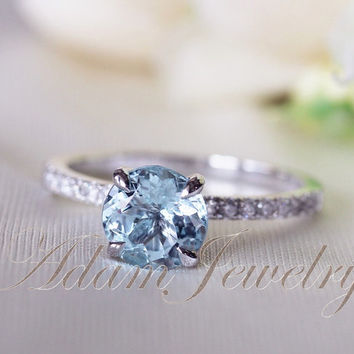 14K White Gold 6.5mm Round Cut VS Aquamarine Ring Pave Diamonds Engagement Ring/  Wedding Ring/ Promise Ring/ Anniversary Ring