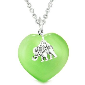 Lucky Elephant Charm Amulet Magic Powers Heart Green Simulated Cats Eye Pendant Necklace