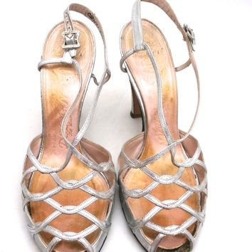 Vintage 1950s Womens Delman Shoes SIlver Leather Evening Sandals 7 N