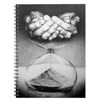 """""""Time"""" hourglass pencil drawing Notebook"""