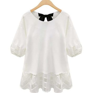 QZUnique Women's Plus Size Stella Back Ribbon Blouse Top White 5XL