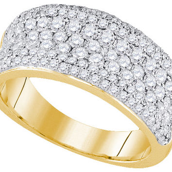 14k Yellow Gold Womens Round Diamond Pave Wedding Anniversary Band Ring 1-1/3 Cttw 92717