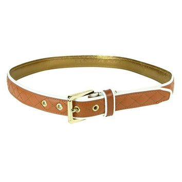 """Michael Kors Quilt-Stitched Leather Color Block Two-Tone 1.25"""" Wide Belt"""