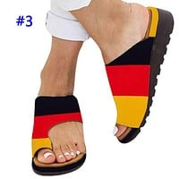 Popular fashion casual national flag print patchwork color platform slippers #3