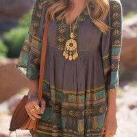 New Women Multicolor Geometric Draped V-neck Half Sleeve Oversize Boho Vintage Country Mini Dress