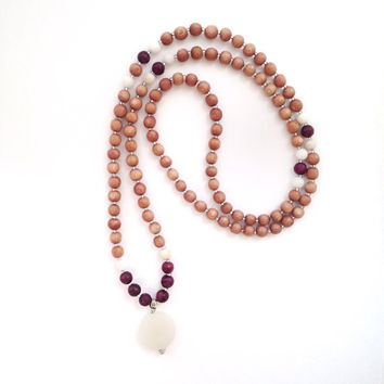 "Happiness Mala | 108 Mala Necklace | Purple Jungle ""Jasper"", Rosewood, Quartz, Onyx Pendant 