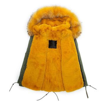 Top Genuine Mens Winter Fur Parka turmeric lining Real Removeable fur collar winter parka MRS fur hooded jacket free shipping
