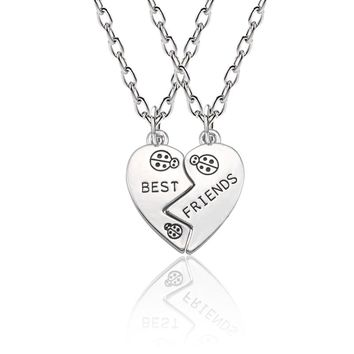 Fashion Best Friend Pendant Necklace Women Ladybug Best Friends Forever Necklaces Set Silver Love Heart Animal BFF Jewelry Colar