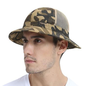 Summer Half Mesh Net Bucket Hats Panama Cap Men Camo Fisherman's Hat Irish Country Session Hats Wide Downward-sloping Brim 135