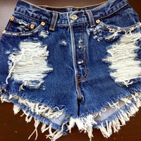 High waist destroyed denim shorts super frayed  size Sm/Med/Lg