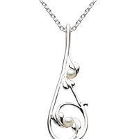 Mackintosh Style Sterling Silver Pendant with Freshwater Pearls