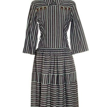 Vintage 1940s Day Dress Cotton Gray Seafoam Green Stripes Bows Adorable Long Sleeves S- M