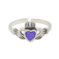 Sterling Silver Irish Claddagh Toe Ring Amethyst CZ Adjustable