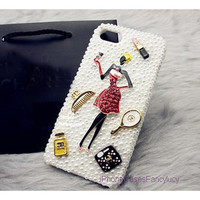 iPhone case, iPhone 4 case, iphone 5 case, iPhone 4s case, Cute iphone 4 case pretty lady, bling iphone 5 pearl case comb perfume
