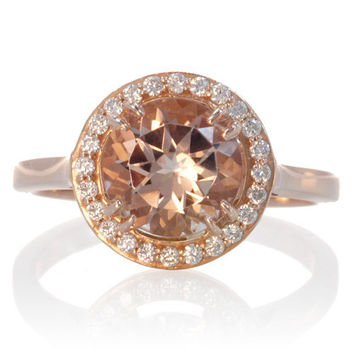 Rose Gold Round Diamond Halo Morganite Solitaire Engagement Anniversary Gemstone Ring