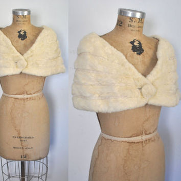 Cream MINK Fur Stole / 1950s Shawl / wedding bridal Cape