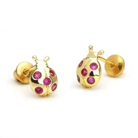 14k Gold Plated Brass Lady Bug Screwback Girls Earrings with Sterling Silver Post
