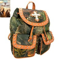 Heritage West Camo Print Cross Backpack Purse (Brown)