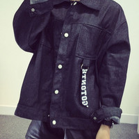 Black Applique Letter Pattern Pocket Detail Denim Coat