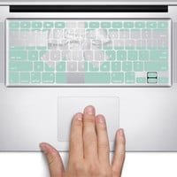 D235 Teal Box with Bow Apple MacBook Keyboard Vinyl Decal Stickers (11, 13, 15, & 17 inch Pro/Air/Retina)