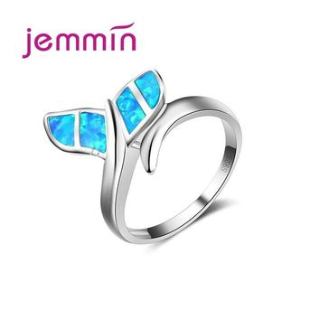 Jemmin New Promotion Cute Whale Ring with Blue Fire Opal 925 Sterling Silver Rings for Women Wedding Bague Bijoux