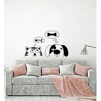 Vinyl Wall Decal Funny Cartoon Cat And Dog Pets Shop Nursery Stickers (3840ig)