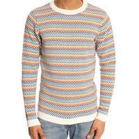 Winter White Multicoloured Sweater KNOWLEDGE COTTON APPAREL men Crew-neck Sweaters Multicolor men