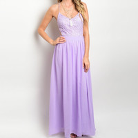 Open Back Crochet Maxi Dress in Lavender