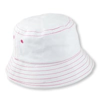 White Bucket Sun Hat with Contrasting Pink Stitching (12-18 mo)