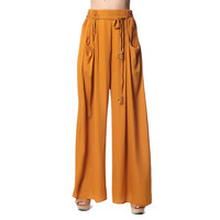 Mustard wide pleated pants with tie belt detail