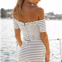 Casual Stripe Pattern Off Shoulder Zipper Back Bodycon Mini Dress