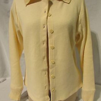 Eddie Bauer Cardigan Sweater Jacket Women's Size PS Collar Long Sleeve Cream