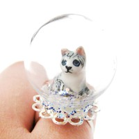Porcelain Baby Kitty Cat Glass Snow Globe Bubble Adjustable Ring | Animal Jewelry