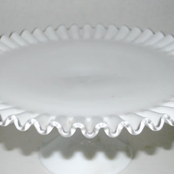 Fenton silver crest cake stand wedding  cake stand milk glass cake dish  footed cake stand