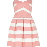 Pink and white bandage box pleat prom dress - party / evening dresses - dresses - women
