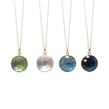 Gold Round Gemstone Necklace