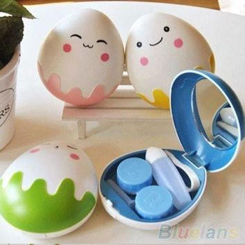 Cute Egg Design Travel Contact Lens Case Box Set Cleaning Holder Soak Storage hot