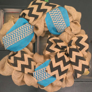 Turquoise chevron burlap wreath - spring wreath, summer wreath, year round wreath, blue burlap wreath, door decor, rustic