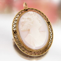 Antique 14k Angel Skin Coral CAMEO Pin Pendant Carved Lady Design Ex Light Pink