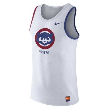 Men's Chicago Cubs White Nike 1.7 Cooperstown Collection 1984 Tank Top