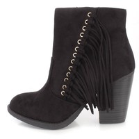 Black Side Fringe Single Sole Ankle Booties Faux Suede