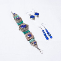 Handmade-Tibetan Turquoise Lapiz Lazuli from Afghanistan Real Silver from Nepal