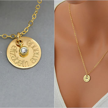 Name Necklace, Personalized Disc Necklace, Gold Name Disc with CZ, Gold CZ Necklace, Personalized CZ Necklace, Bridal Necklace, Wedding