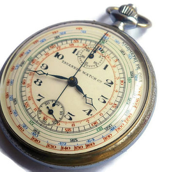 Vintage Tavannes Chronograph Pocket Watch with Excelsior Park caliber 19