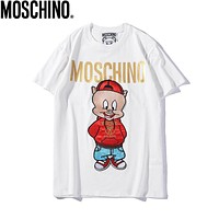 MOSCHINO Summer Trending Couple Pig Embroidery Tunic Shirt Top Blouse White