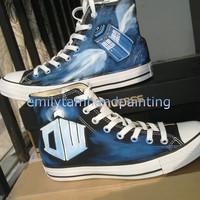 Doctor Who Hand Painted Shoes-Custom Black Converse All Star High TOP